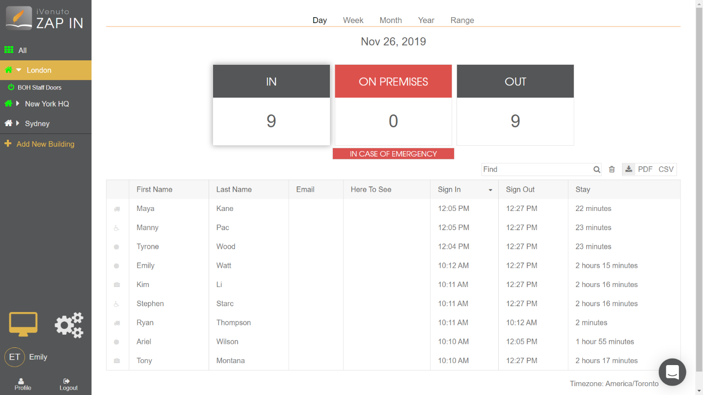 visitor management system for office