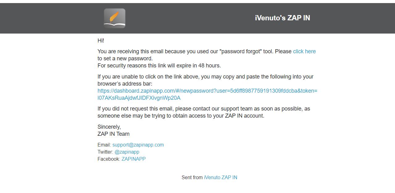zap in ivenuto forgotten password